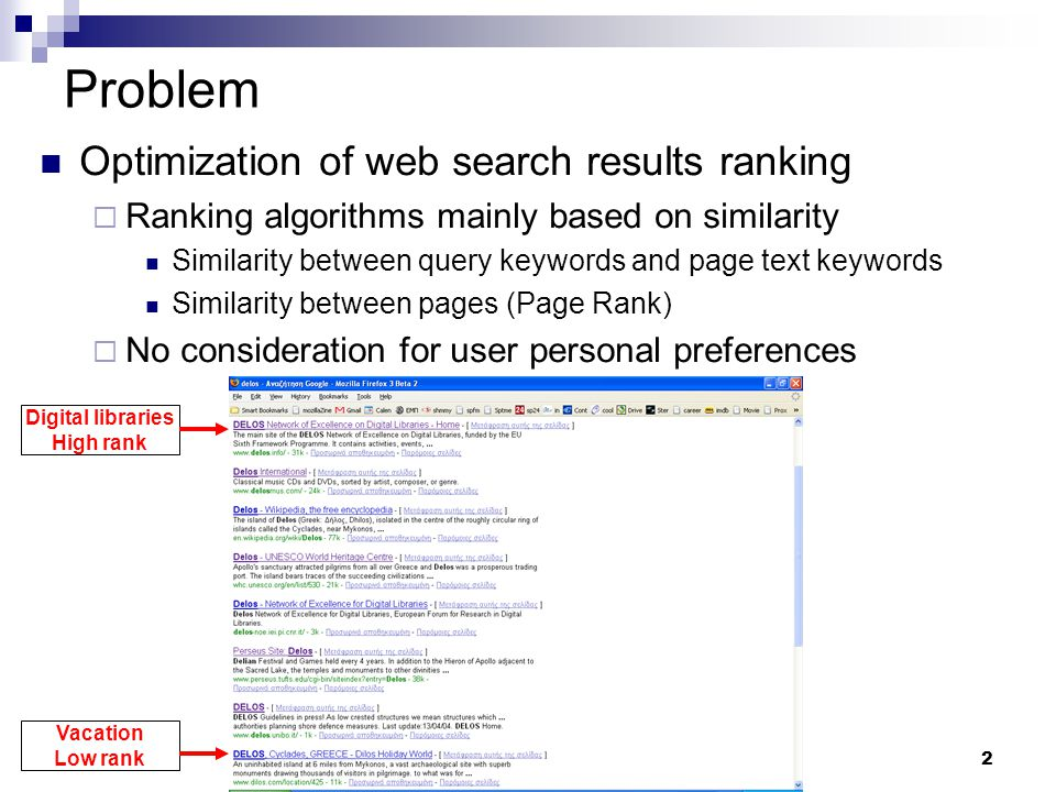 2 Problem Optimization of web search results ranking  Ranking algorithms mainly based on similarity Similarity between query keywords and page text k