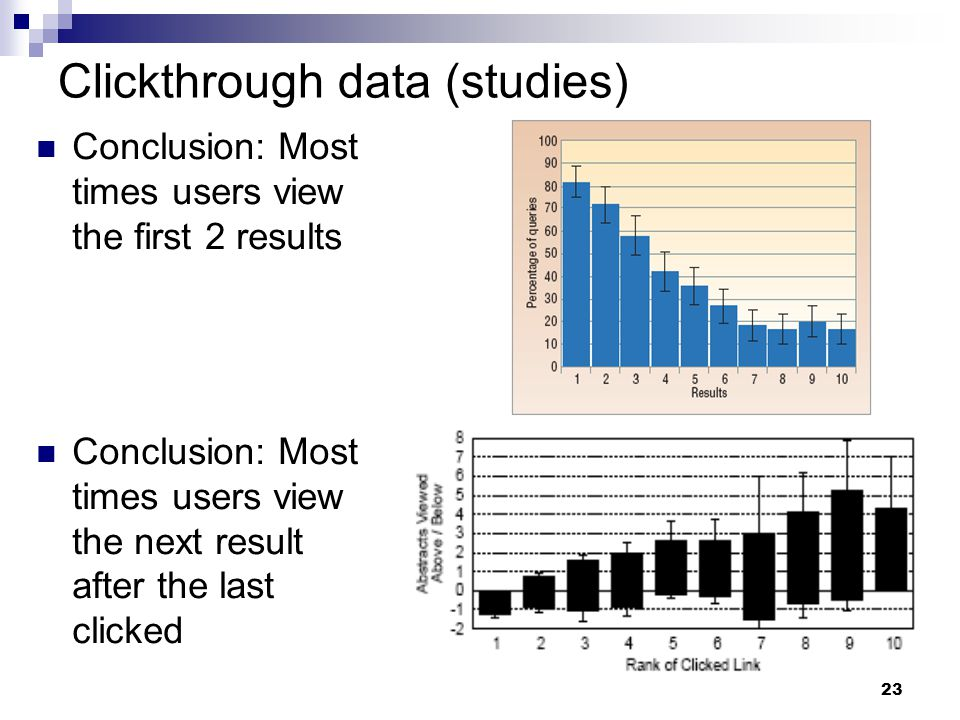 23 Clickthrough data (studies) Conclusion: Most times users view the first 2 results Conclusion: Most times users view the next result after the last