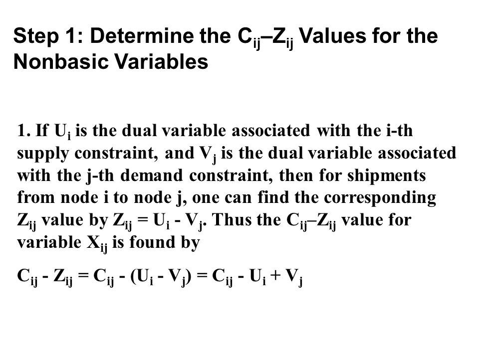 Step 1: Determine the C ij –Z ij Values for the Nonbasic Variables 1. If U i is the dual variable associated with the i-th supply constraint, and V j