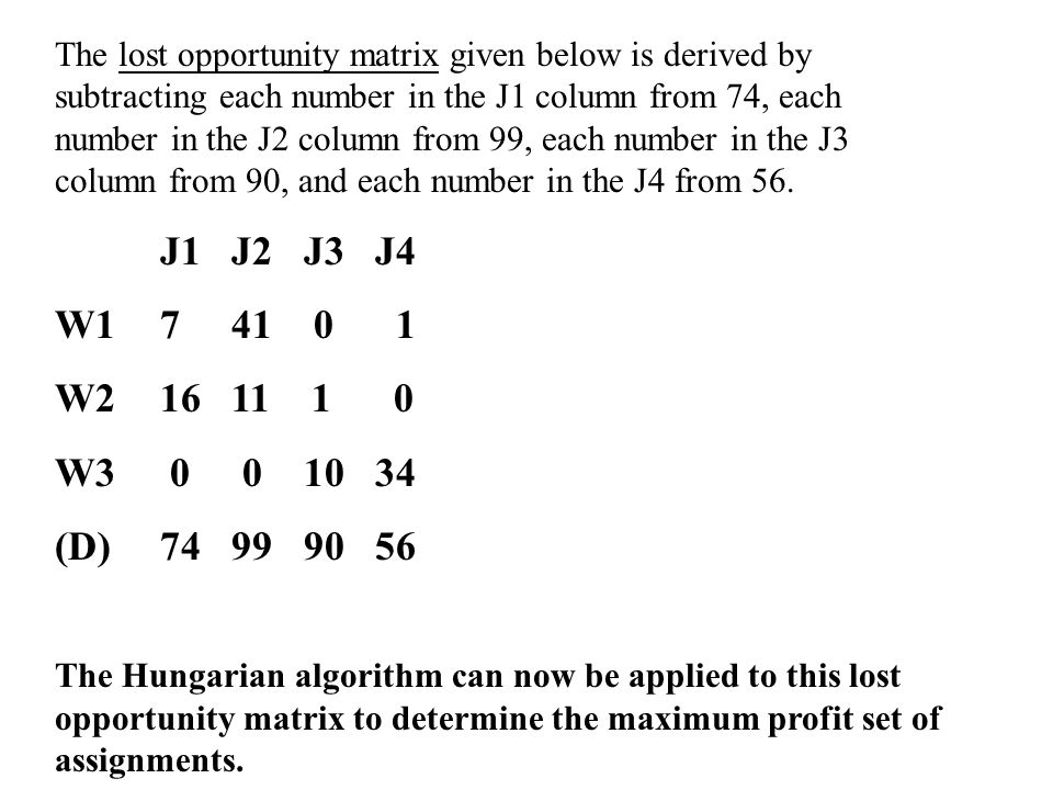 The lost opportunity matrix given below is derived by subtracting each number in the J1 column from 74, each number in the J2 column from 99, each num