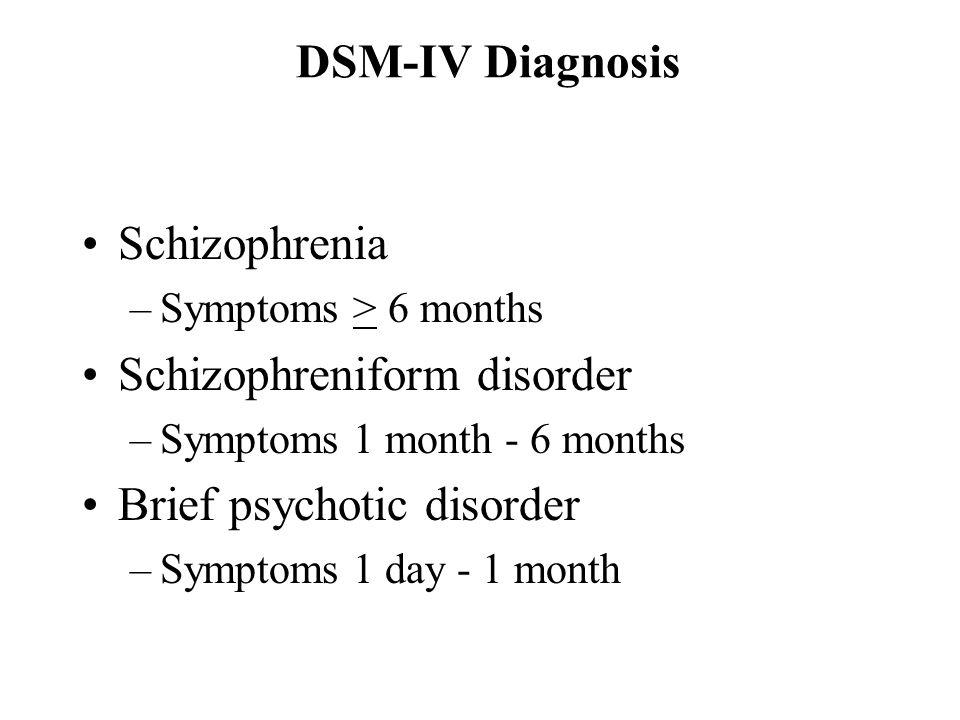 DSM-IV Diagnosis Schizophrenia –Symptoms > 6 months Schizophreniform disorder –Symptoms 1 month - 6 months Brief psychotic disorder –Symptoms 1 day -