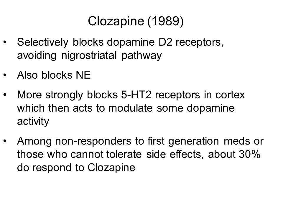 Clozapine (1989) Selectively blocks dopamine D2 receptors, avoiding nigrostriatal pathway Also blocks NE More strongly blocks 5-HT2 receptors in corte