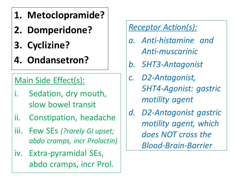 1.Metoclopramide. 2.Domperidone. 3.Cyclizine. 4.Ondansetron.