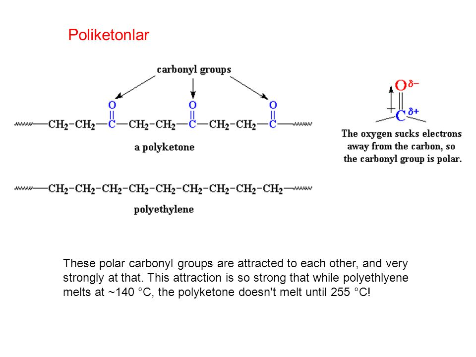 These polar carbonyl groups are attracted to each other, and very strongly at that.