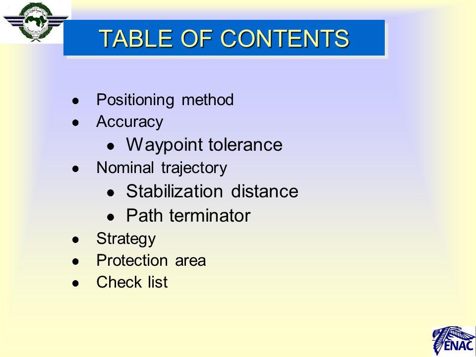 2 TABLE OF CONTENTS l Positioning method l Accuracy l Waypoint tolerance l Nominal trajectory l Stabilization distance l Path terminator l Strategy l