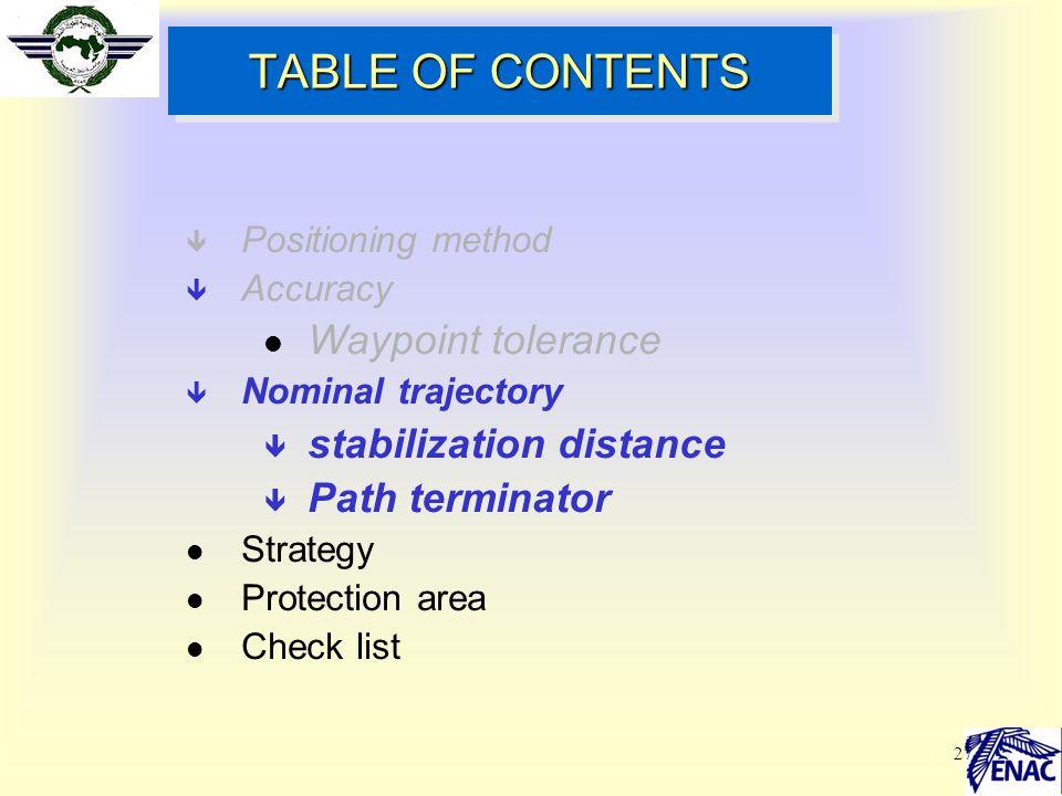 27 TABLE OF CONTENTS ê Positioning method ê Accuracy l Waypoint tolerance ê Nominal trajectory ê stabilization distance ê Path terminator l Strategy l