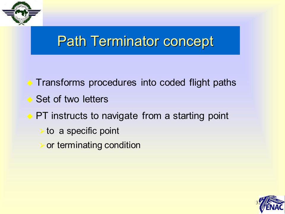 32 Path Terminator concept  Transforms procedures into coded flight paths  Set of two letters  PT instructs to navigate from a starting point  to
