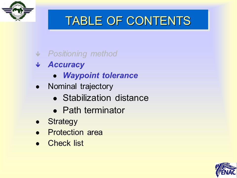8 TABLE OF CONTENTS ê Positioning method ê Accuracy l Waypoint tolerance l Nominal trajectory l Stabilization distance l Path terminator l Strategy l