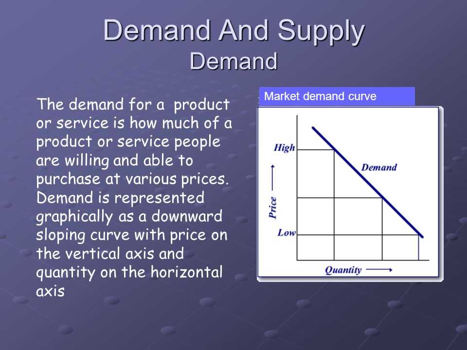 The demand for a product or service is how much of a product or service people are willing and able to purchase at various prices. Demand is represent
