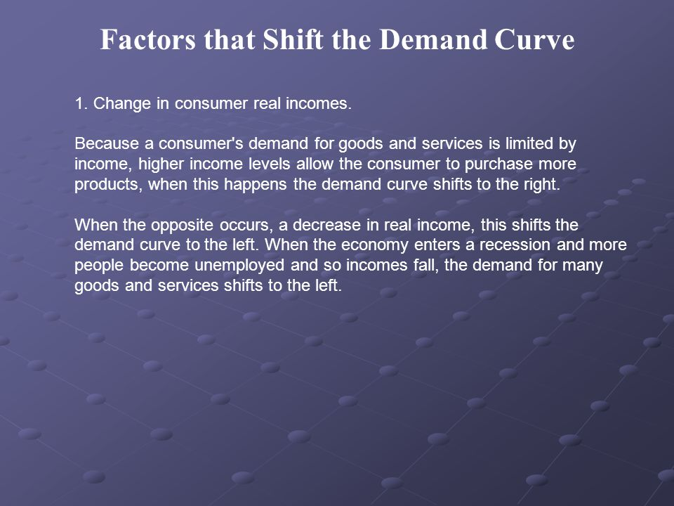 2.Population change: An increase in population shifts the demand curve to the right D1 to D2.
