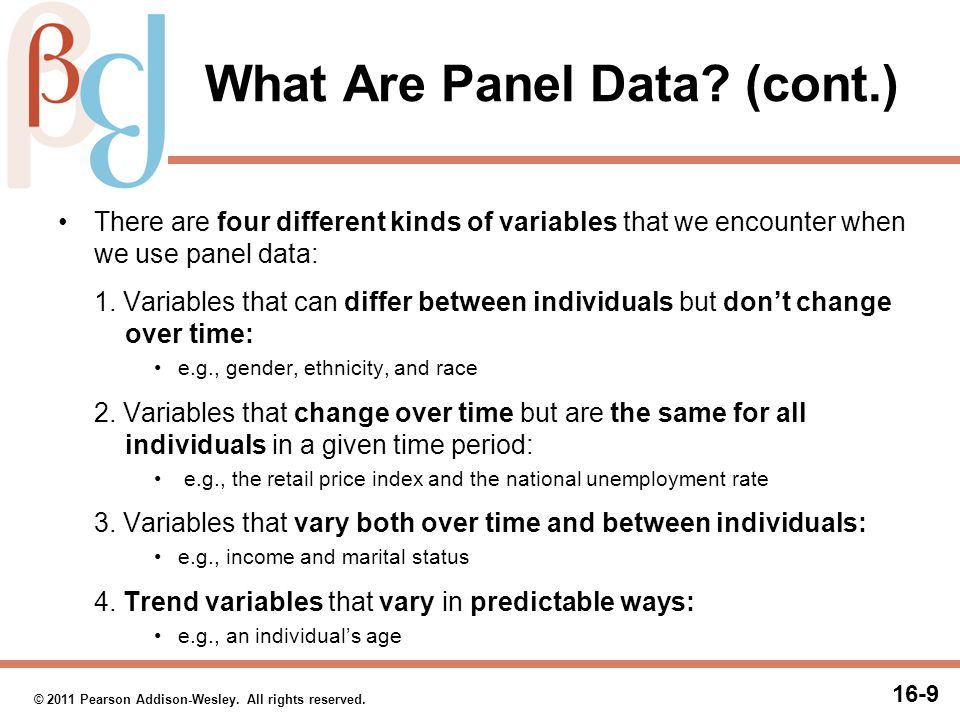 16-9 © 2011 Pearson Addison-Wesley. All rights reserved. What Are Panel Data? (cont.) There are four different kinds of variables that we encounter wh