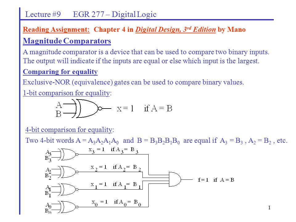 1 Lecture #9 EGR 277 – Digital Logic Magnitude Comparators A magnitude comparator is a device that can be used to compare two binary inputs.