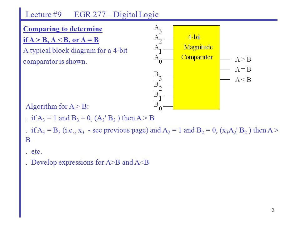 2 Lecture #9 EGR 277 – Digital Logic Comparing to determine if A > B, A < B, or A = B A typical block diagram for a 4-bit comparator is shown.