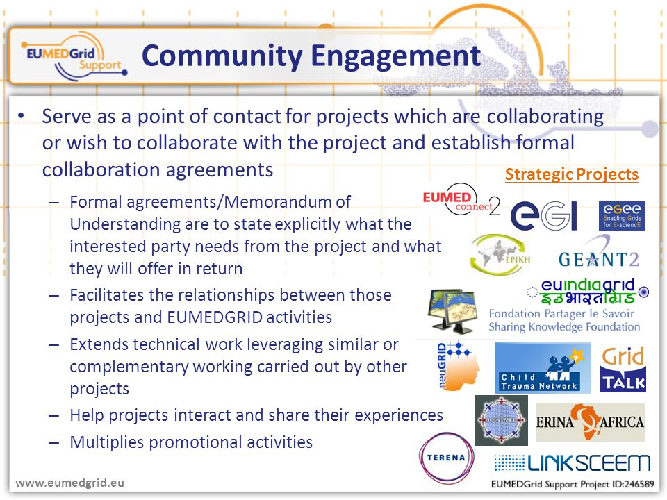 – Formal agreements/Memorandum of Understanding are to state explicitly what the interested party needs from the project and what they will offer in return – Facilitates the relationships between those projects and EUMEDGRID activities – Extends technical work leveraging similar or complementary working carried out by other projects – Help projects interact and share their experiences – Multiplies promotional activities Community Engagement Strategic Projects www.eumedgrid.eu Serve as a point of contact for projects which are collaborating or wish to collaborate with the project and establish formal collaboration agreements