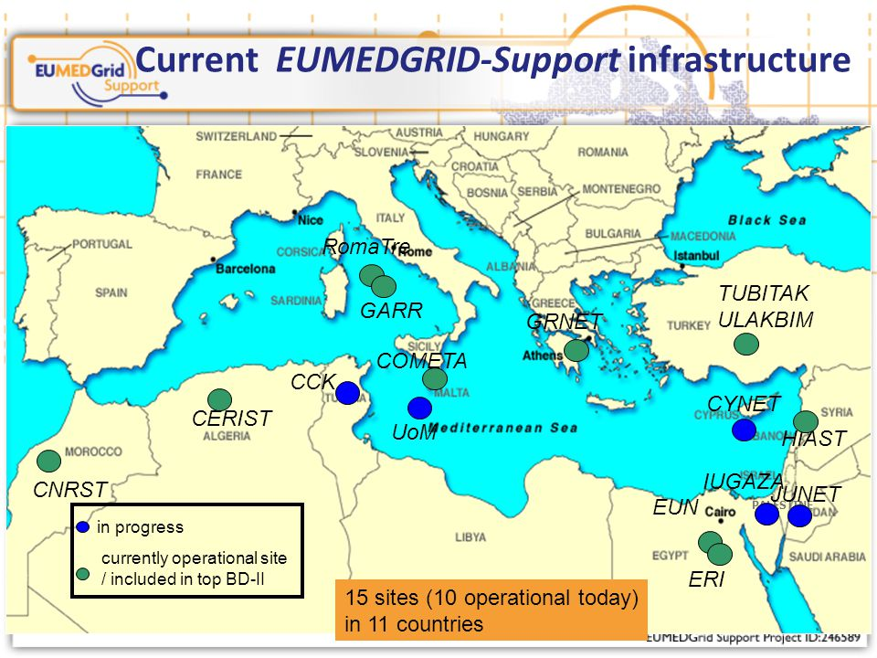 PALESTINE Current EUMEDGRID-Support infrastructure in progress currently operational site / included in top BD-II 15 sites (10 operational today) in 11 countries CERIST CNRST CCK RomaTre GARR GRNET UoM COMETA TUBITAK ULAKBIM CYNET HIAST EUN JUNET ERI IUGAZA