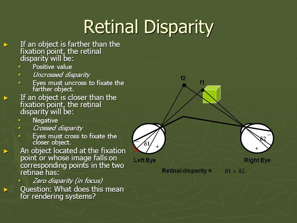 Convergence Angles i  f2 f1 D1 D2  a b c d 11  +a+c+b+d = 180  +c+d = 180  -  = a+(-b) =  1+  2 = Retinal Disparity 22