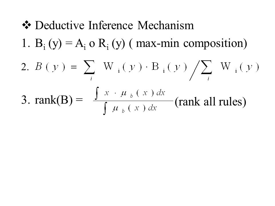  Deductive Inference Mechanism 1.B i (y) = A i o R i (y) ( max-min composition) 2.