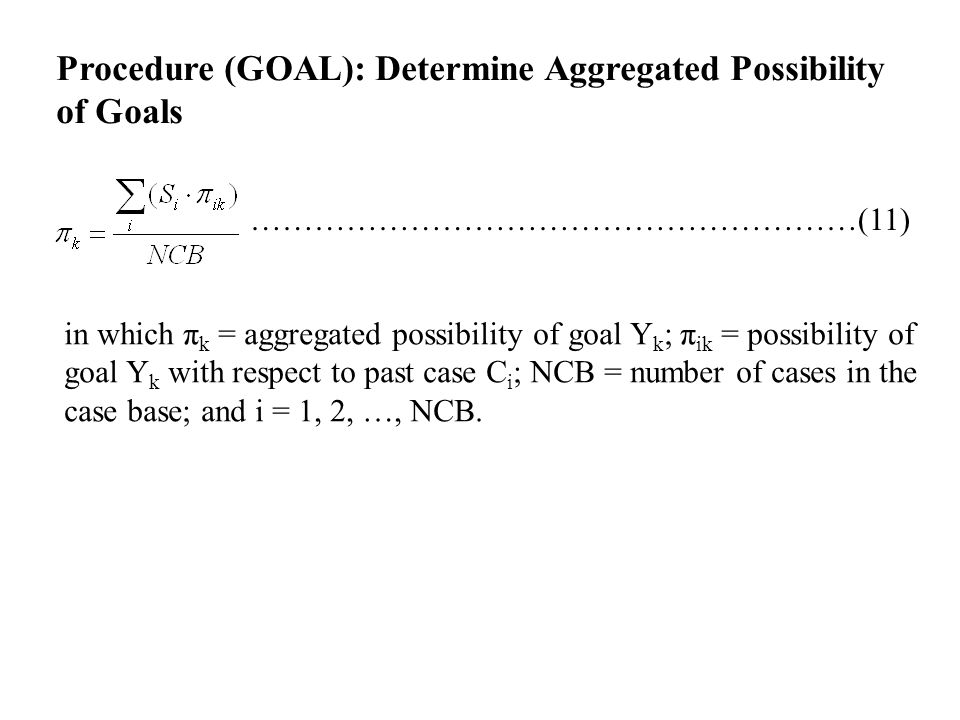 Procedure (GOAL): Determine Aggregated Possibility of Goals …………………………………………………(11) in which π k = aggregated possibility of goal Y k ; π ik = possibility of goal Y k with respect to past case C i ; NCB = number of cases in the case base; and i = 1, 2, …, NCB.