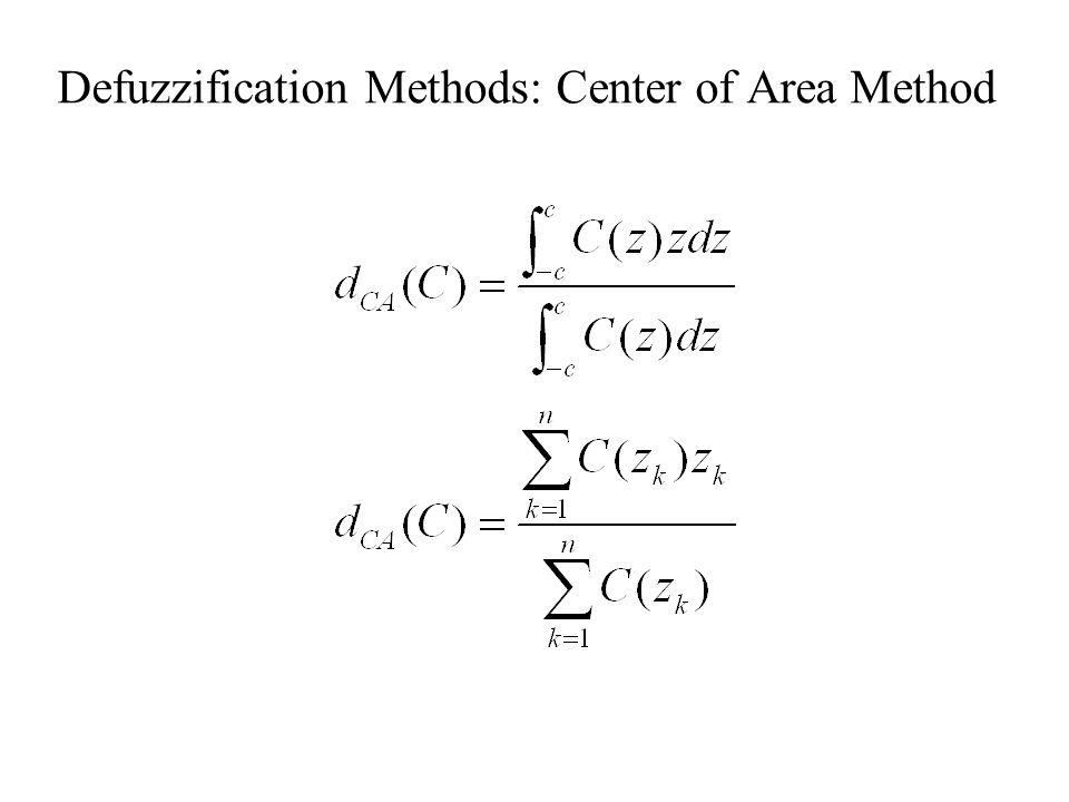 Defuzzification Methods: Center of Area Method