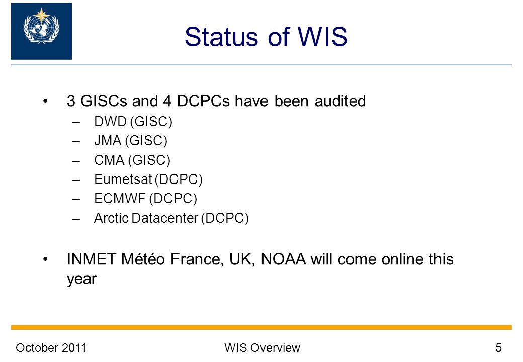 October 2011WIS Overview5 Status of WIS 3 GISCs and 4 DCPCs have been audited –DWD (GISC) –JMA (GISC) –CMA (GISC) –Eumetsat (DCPC) –ECMWF (DCPC) –Arct