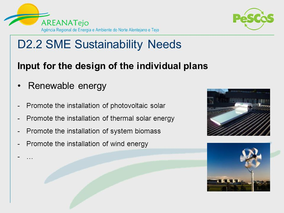 Input for the design of the individual plans Renewable energy -Promote the installation of photovoltaic solar -Promote the installation of thermal solar energy -Promote the installation of system biomass -Promote the installation of wind energy -… D2.2 SME Sustainability Needs