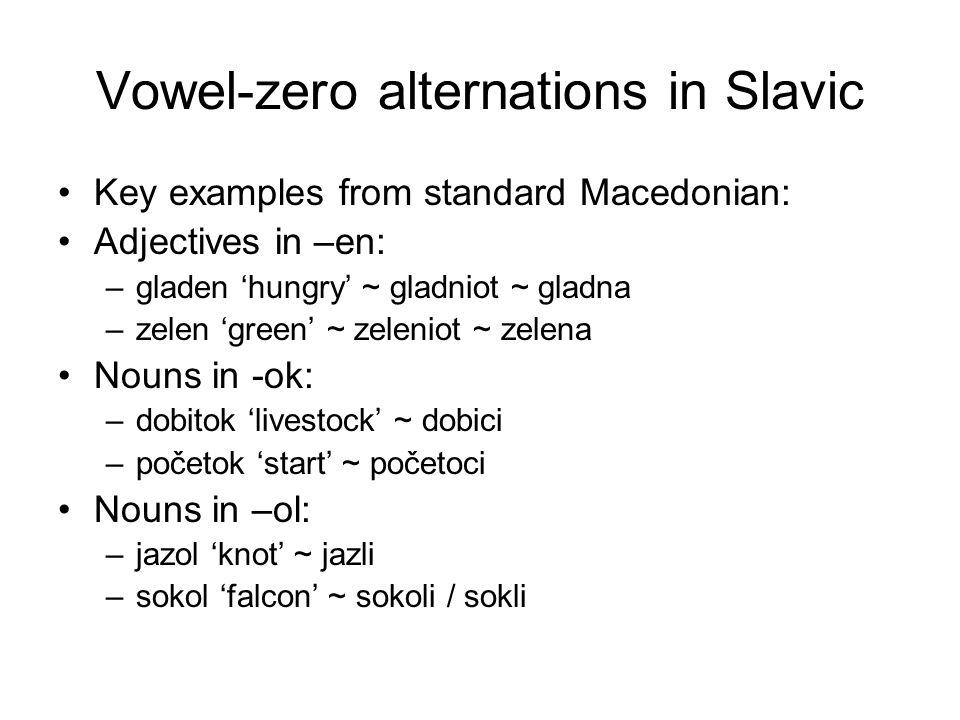 Vowel-zero alternations in Slavic Key examples from standard Macedonian: Adjectives in –en: –gladen 'hungry' ~ gladniot ~ gladna –zelen 'green' ~ zeleniot ~ zelena Nouns in -ok: –dobitok 'livestock' ~ dobici –početok 'start' ~ početoci Nouns in –ol: –jazol 'knot' ~ jazli –sokol 'falcon' ~ sokoli / sokli