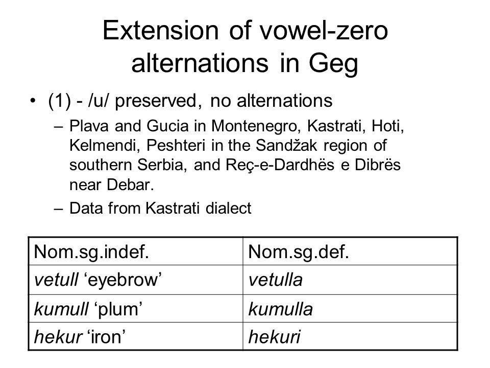 Extension of vowel-zero alternations in Geg (1) - /u/ preserved, no alternations –Plava and Gucia in Montenegro, Kastrati, Hoti, Kelmendi, Peshteri in the Sandžak region of southern Serbia, and Reç-e-Dardhës e Dibrës near Debar.