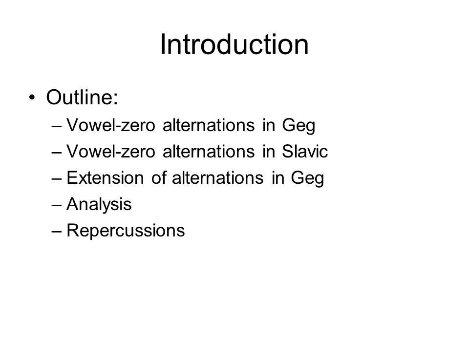 Introduction Outline: –Vowel-zero alternations in Geg –Vowel-zero alternations in Slavic –Extension of alternations in Geg –Analysis –Repercussions