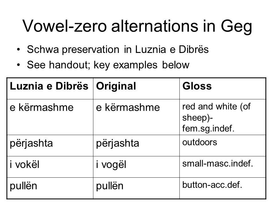 Vowel-zero alternations in Geg Schwa preservation in Luznia e Dibrës See handout; key examples below Luznia e DibrësOriginalGloss e kërmashme red and white (of sheep)- fem.sg.indef.