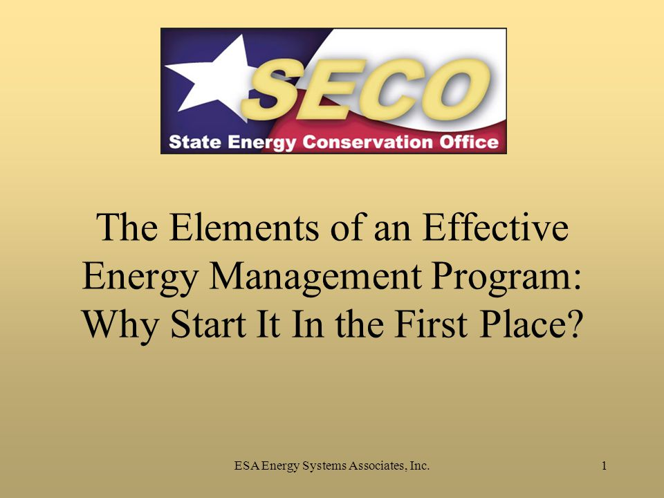 ESA Energy Systems Associates, Inc.1 The Elements of an Effective Energy Management Program: Why Start It In the First Place?