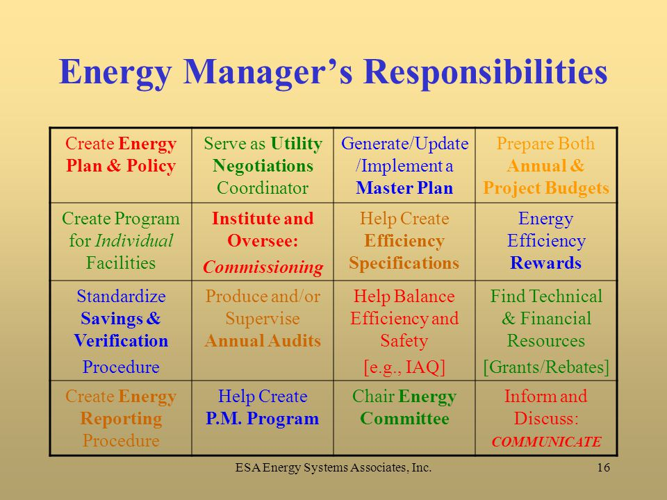 ESA Energy Systems Associates, Inc.16 Energy Manager's Responsibilities Create Energy Plan & Policy Serve as Utility Negotiations Coordinator Generate