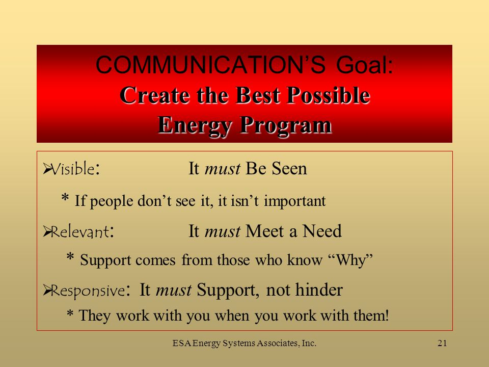 ESA Energy Systems Associates, Inc.21 Create the Best Possible Energy Program COMMUNICATION'S Goal: Create the Best Possible Energy Program  Visible : It must Be Seen * If people don't see it, it isn't important  Relevant : It must Meet a Need * Support comes from those who know Why  Responsive : It must Support, not hinder * They work with you when you work with them!