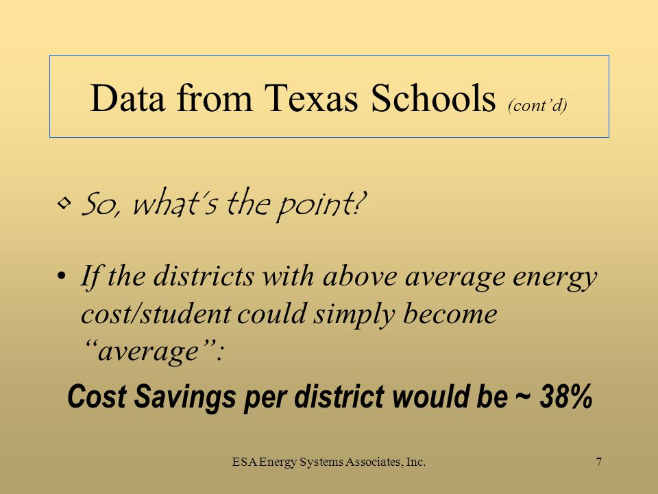 ESA Energy Systems Associates, Inc.7 Data from Texas Schools (cont'd) So, what's the point? If the districts with above average energy cost/student co