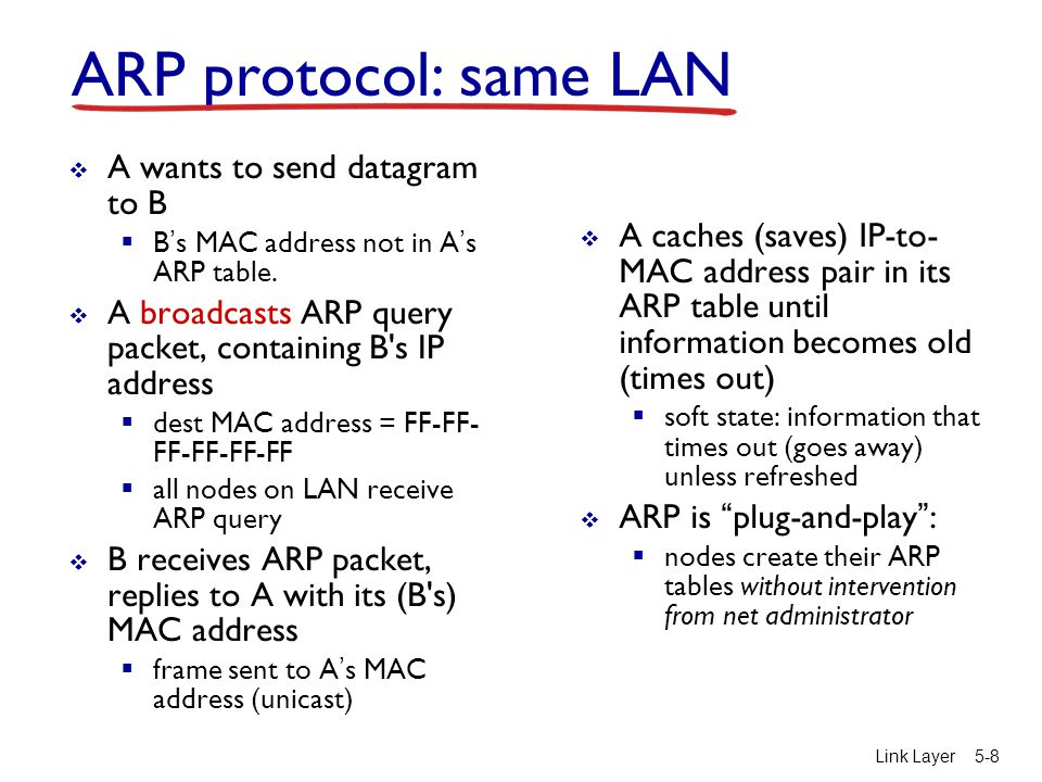 Link Layer5-9 walkthrough: send datagram from A to B via R  focus on addressing – at IP (datagram) and MAC layer (frame)  assume A knows B's IP address  assume A knows IP address of first hop router, R (how?)  assume A knows R's MAC address (how?) Addressing: routing to another LAN R 1A-23-F9-CD-06-9B 222.222.222.220 111.111.111.110 E6-E9-00-17-BB-4B CC-49-DE-D0-AB-7D 111.111.111.112 111.111.111.111 74-29-9C-E8-FF-55 A 222.222.222.222 49-BD-D2-C7-56-2A 222.222.222.221 88-B2-2F-54-1A-0F B