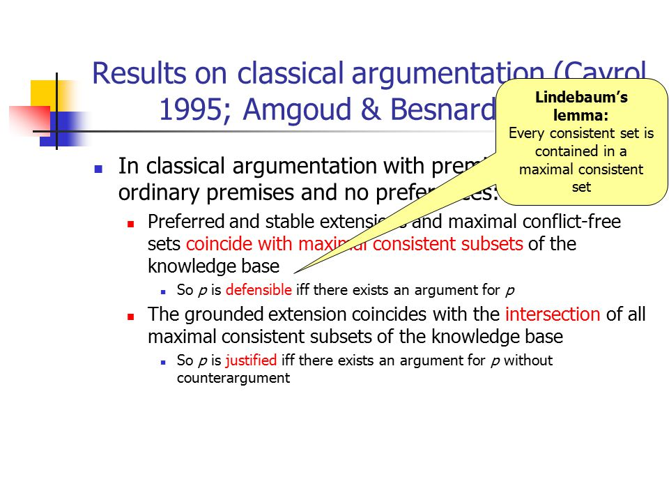 Results on classical argumentation (Cayrol 1995; Amgoud & Besnard 2013) In classical argumentation with premise attack, only ordinary premises and no preferences: Preferred and stable extensions and maximal conflict-free sets coincide with maximal consistent subsets of the knowledge base So p is defensible iff there exists an argument for p The grounded extension coincides with the intersection of all maximal consistent subsets of the knowledge base So p is justified iff there exists an argument for p without counterargument Lindebaum's lemma: Every consistent set is contained in a maximal consistent set