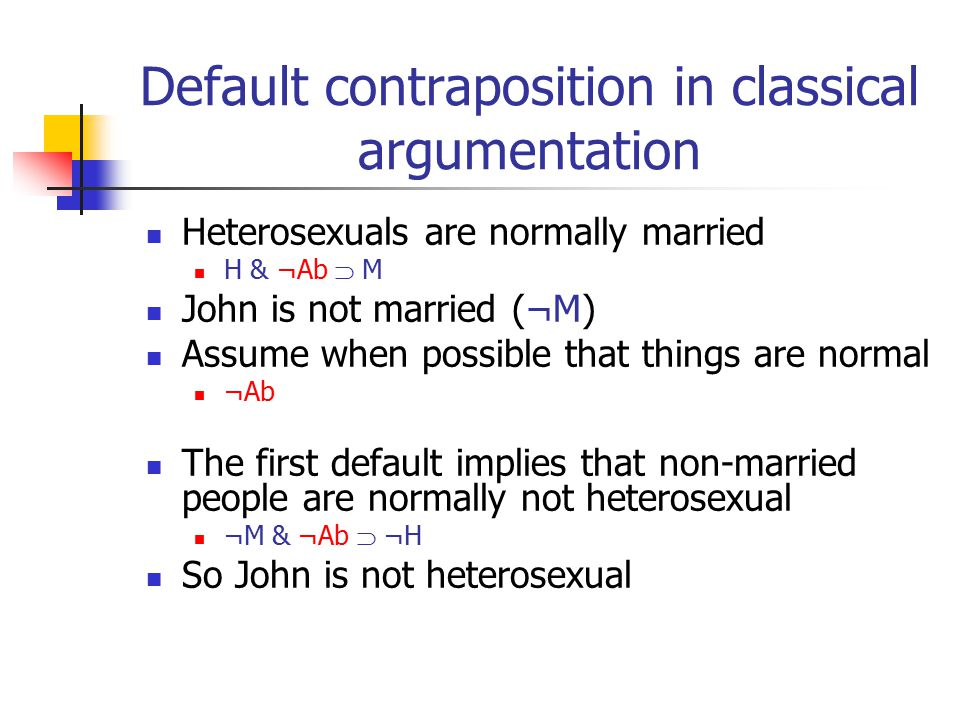 Default contraposition in classical argumentation Heterosexuals are normally married H & ¬Ab  M John is not married (¬M) Assume when possible that things are normal ¬Ab The first default implies that non-married people are normally not heterosexual ¬M & ¬Ab  ¬H So John is not heterosexual