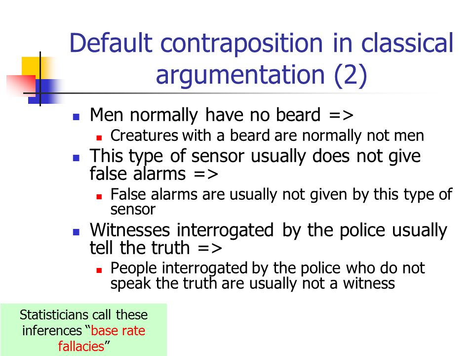 Default contraposition in classical argumentation (2) Men normally have no beard => Creatures with a beard are normally not men This type of sensor usually does not give false alarms => False alarms are usually not given by this type of sensor Witnesses interrogated by the police usually tell the truth => People interrogated by the police who do not speak the truth are usually not a witness Statisticians call these inferences base rate fallacies