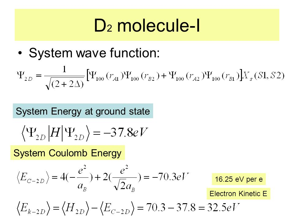 D 2 molecule-I System wave function: System Energy at ground state System Coulomb Energy Electron Kinetic E 16.25 eV per e