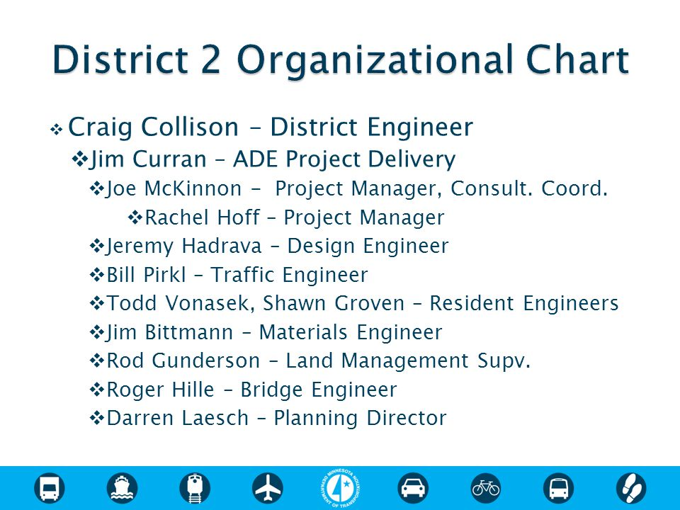  Craig Collison – District Engineer  Jim Curran – ADE Project Delivery  Joe McKinnon - Project Manager, Consult.