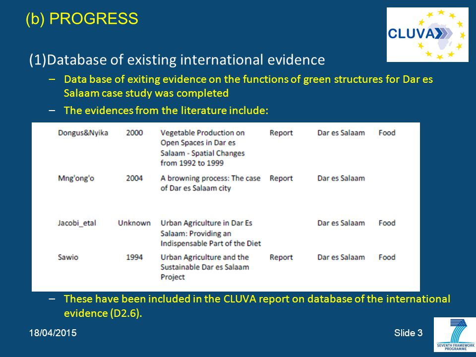 (b) PROGRESS (1)Database of existing international evidence –Data base of exiting evidence on the functions of green structures for Dar es Salaam case study was completed –The evidences from the literature include: –These have been included in the CLUVA report on database of the international evidence (D2.6).