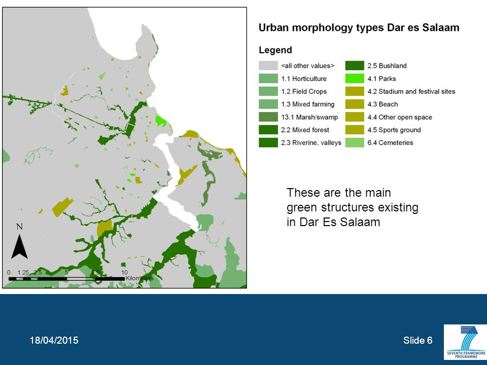 Slide 6 18/04/2015 These are the main green structures existing in Dar Es Salaam