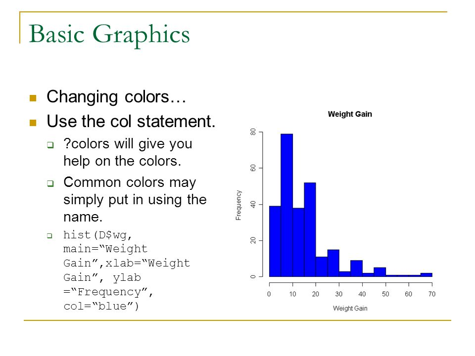 Basic Graphics Changing colors… Use the col statement.