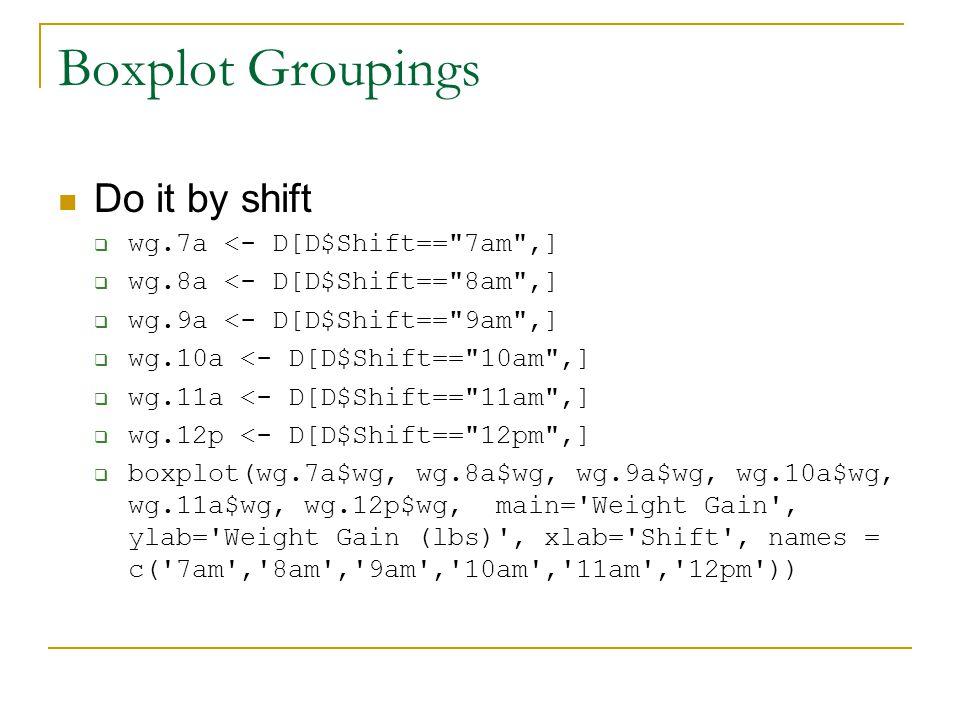 Boxplot Groupings Do it by shift  wg.7a <- D[D$Shift== 7am ,]  wg.8a <- D[D$Shift== 8am ,]  wg.9a <- D[D$Shift== 9am ,]  wg.10a <- D[D$Shift== 10am ,]  wg.11a <- D[D$Shift== 11am ,]  wg.12p <- D[D$Shift== 12pm ,]  boxplot(wg.7a$wg, wg.8a$wg, wg.9a$wg, wg.10a$wg, wg.11a$wg, wg.12p$wg, main= Weight Gain , ylab= Weight Gain (lbs) , xlab= Shift , names = c( 7am , 8am , 9am , 10am , 11am , 12pm ))