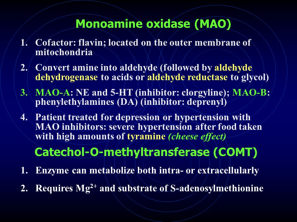 Monoamine oxidase (MAO) 1.Cofactor: flavin; located on the outer membrane of mitochondria 2.Convert amine into aldehyde (followed by aldehyde dehydrogenase to acids or aldehyde reductase to glycol) 3.MAO-A: NE and 5-HT (inhibitor: clorgyline); MAO-B: phenylethylamines (DA) (inhibitor: deprenyl) 4.Patient treated for depression or hypertension with MAO inhibitors: severe hypertension after food taken with high amounts of tyramine (cheese effect) Catechol-O-methyltransferase (COMT) 1.Enzyme can metabolize both intra- or extracellularly 2.Requires Mg 2+ and substrate of S-adenosylmethionine