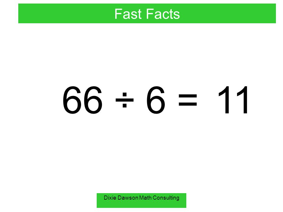 Dixie Dawson Math Consulting 66 ÷ 6 =11 Fast Facts