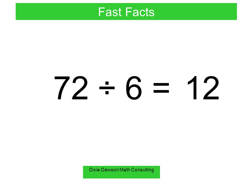 Dixie Dawson Math Consulting 72 ÷ 6 =12 Fast Facts