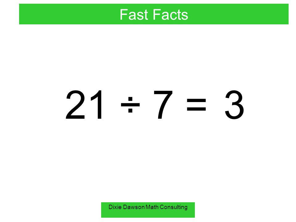 Dixie Dawson Math Consulting 27 ÷ 9 = 3 Fast Facts