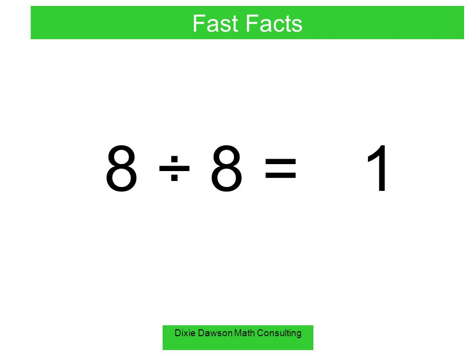 Dixie Dawson Math Consulting 8 ÷ 8 =1 Fast Facts