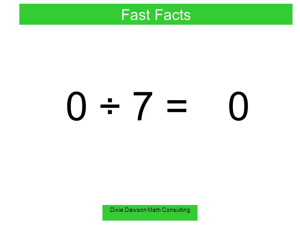 Dixie Dawson Math Consulting 0 ÷ 7 =0 Fast Facts