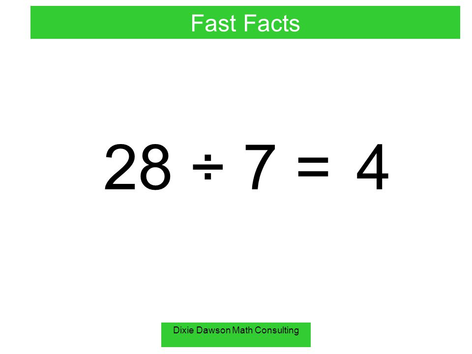 Dixie Dawson Math Consulting 28 ÷ 7 = 4 Fast Facts